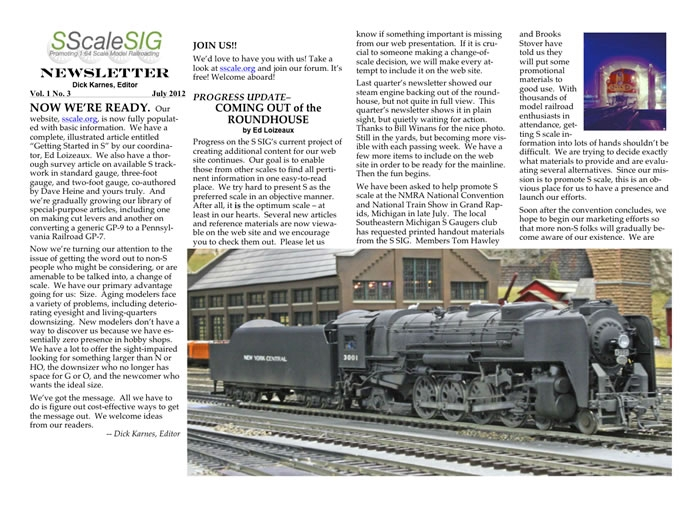 S Scale SIG Newsletter Vol 1, No. 3